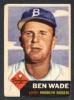 1953 Topps Baseball # 004  Ben Wade Brooklyn Dodgers EX