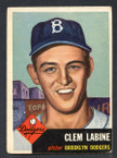 1953 Topps Baseball # 014  Clem Labine Brooklyn Dodgers EX