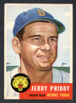 1953 Topps Baseball # 113  Jerry Priddy Detroit Tigers EX-1