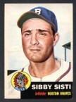 1953 Topps Baseball # 124  Sibby Sisti Milwaukee Braves EX/MT