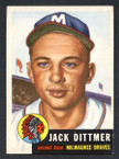 1953 Topps Baseball # 212  Jack Dittmer Milwaukee Braves NM