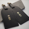 Personalised Mr and Mrs Black Leather Luggage Tags