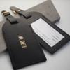 Personalised Black Wedding Leather Luggage Tags
