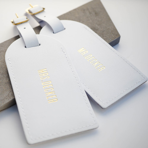 Personalised White Wedding Leather Luggage Tags