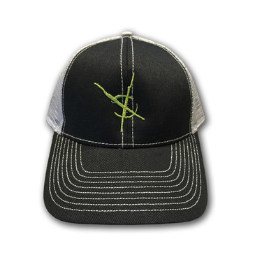 Crosswinds Brand Low Profile Trucker Mesh Cap - Grey Hat / Green Symbol