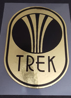 Trek Vintage Head Badge Decal in Mirror Gold or Chrome