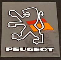 Peugeot  Head Badge Decal - White/Black Outline Lion