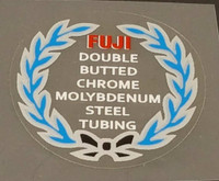 Fuji Double Butted Cro-Mo Tubing Decal - Blue Wreath - Choose Black or White Lettering