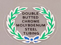 Double Butted Cro Mo Tubing Decal (Blue Bow) - Choose Black or White Lettering