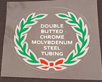 Double Butted Cro Mo Tubing Decal (Red Bow) - Choose Black or White Lettering