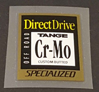 Specialized Direct Drive Tange CrMo Tubing Decal