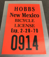 Hobbs New Mexico License Decal 1970