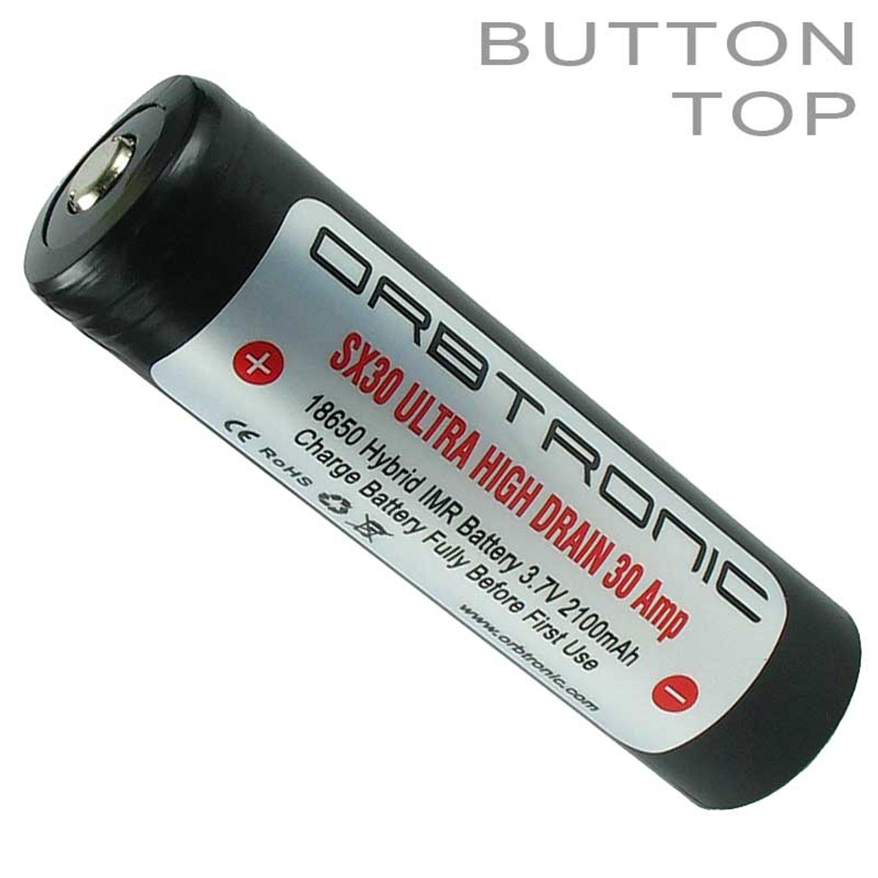 18650 30a Battery Button Top Imr Li Ion Rechargeable Orbtronic