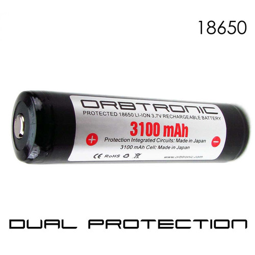 18650 PROTECTED 3100mAh Li-ion Rechargeable Orbtronic-Panasonic Battery-Button Top