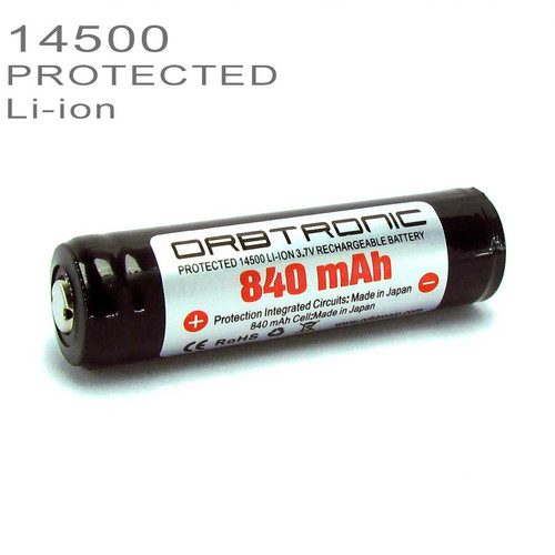14500 PROTECTED Li-ion Battery 840mAh Rechargeable 3.7V SANYO-PANASONIC cell inside