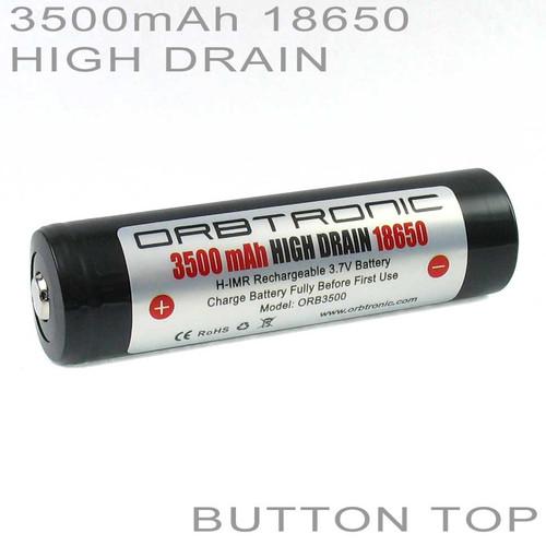 18650 3500mAh High Drain Button Top Battery Orbtronic