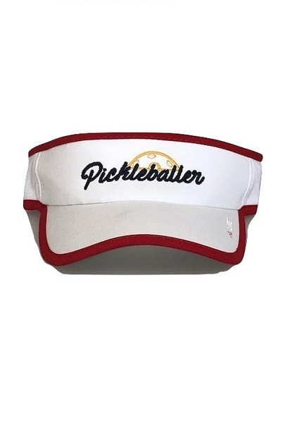 "Moisture Wicking All Sport Active ""Pickleballer"" Visor - White/Red"
