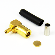 CX3186 SMB Male Right Angle Connector RG316 RG174 LMR100 Brass Crimp Solder Centric RF