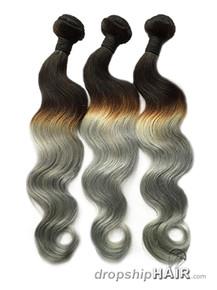Ombre 1BT Silver / Grey Hair Weft in 3-Tone Color