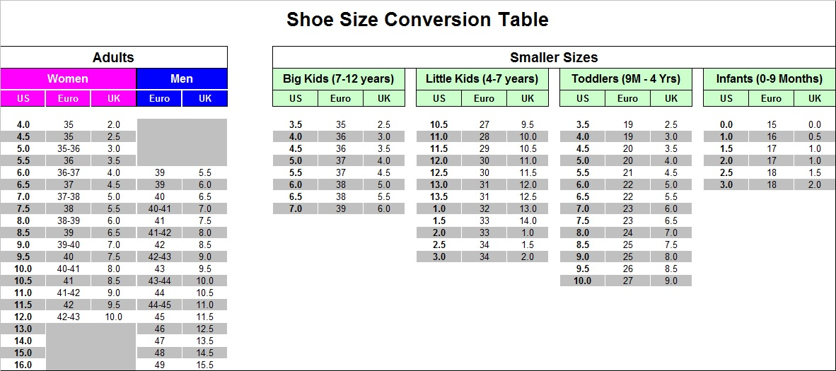 Big Kid Shoe Size Conversion