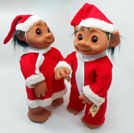 DAM Trolls Set of 2 Boy and Girl in Christmas Outfits, 16 inches