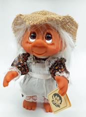 DAM Girl in Dress with Straw Hat Troll 9 inch