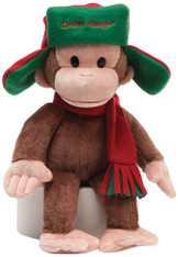 Curious George in Red/Green Fargo Hat and Scarf, 14 inch (35.5 cm)