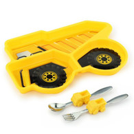 Me Time 3 Piece Meal Plate, Fork and Spoon Set - Dump Truck