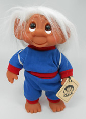 DAM Boy Jogger Troll with Backpack, White Hair, Blue and Red Outfit 8.5 inch (21.6 cm) Listing #1