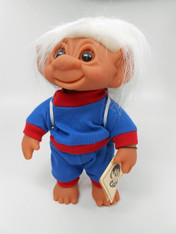 DAM Boy Jogger Troll with Backpack, White Hair, Blue and Red Outfit 8.5 inch (21.6 cm) Listing #3