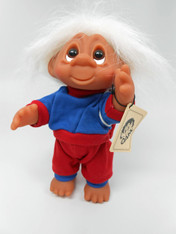 DAM Boy Jogger Troll with Backpack, White Hair, Blue and Red Outfit 8.5 inch (21.6 cm) Listing #4
