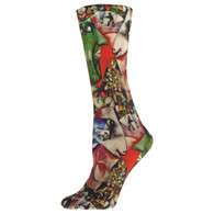 Nouvella Fine Art - Village, Women's Socks. Style 3265. Made in USA