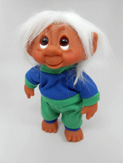 DAM Boy Jogger Troll with Backpack, White Hair, Blue and Green Outfit 8.5 inch (21.6 cm) Listing #5