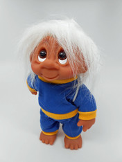DAM Boy Jogger Troll with Backpack, White Hair, Blue and Yellow Outfit 8.5 inch (21.6 cm) Listing #6