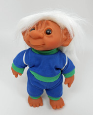 DAM Boy Jogger Troll with Backpack, White Hair, Blue and Green Outfit 8.5 inch (21.6 cm) Listing #6