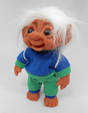DAM Boy Jogger Troll with Backpack, White Hair, Blue and Green Outfit 8.5 inch (21.6 cm) Listing #7
