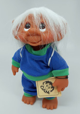 DAM Boy Jogger Troll with Backpack, White Hair, Blue and Green Outfit 8.5 inch (21.6 cm) Listing #8