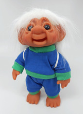 DAM Boy Jogger Troll with Backpack, White Hair, Blue and Green Outfit 8.5 inch (21.6 cm) Listing #9