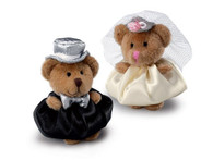 Bride and Groom plush Gift Toppers, 3 inches (7.6 cm)