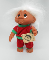 DAM Boy Jogger Troll with Backpack, White Hair, Red and Green Outfit 8.5 inch (21.6 cm) Listing #1