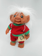 DAM Boy Jogger Troll with Backpack, White Hair, Red and Green Outfit 8.5 inch (21.6 cm) Listing #3