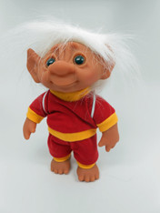 DAM Boy Jogger Troll with Backpack, White Hair, Red and Yellow Outfit 8.5 inch (21.6 cm) Listing #7