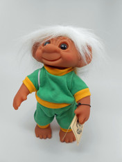 DAM Boy Jogger Troll with Backpack, White Hair, Green and Yellow Outfit 8.5 inch (21.6 cm) Listing #3