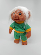 DAM Boy Jogger Troll with Backpack, White Hair, Green and Yellow Outfit 8.5 inch (21.6 cm) Listing #6