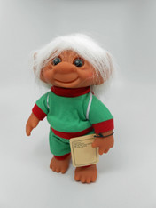 DAM Boy Jogger Troll with Backpack, White Hair, Green and Red Outfit 8.5 inch (21.6 cm) Listing #7