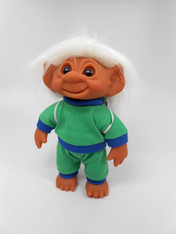 DAM Boy Jogger Troll with Backpack, White Hair, Green and Blue Outfit 8.5 inch (21.6 cm) Listing #9