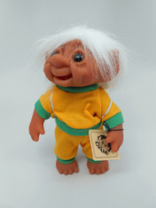 DAM Boy Jogger Troll with Backpack, White Hair, Yellow and Green Outfit 8.5 inch (21.6 cm) Listing #1
