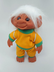 DAM Boy Jogger Troll with Backpack, White Hair, Yellow and Green Outfit 8.5 inch (21.6 cm) Listing #6