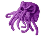 Cthulhu Knitted Acrylic Ski Mask - After Dark Purple, 15 inch (38.1cm) long