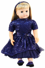 Ask Amy Doll, Dressed in a Sparkling Blue Holiday Dress - Blonde Hair, 20 inch (50.8 cm)